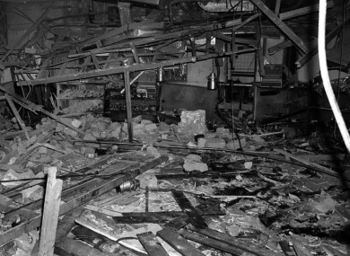 File photo dated 22 November 1974 of the rubble in the Mulberry Bush pub in Birmingham after one of the bombs detonated.