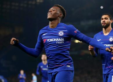 Callum Hudson-Odoi celebrates scoring for Chelsea