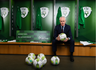 Mick McCarthy at the launch of the FAI's new ticketing scheme, Club Ireland.