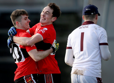 Conor Geaney celebrates scoring a goal with Padraig Clifford.