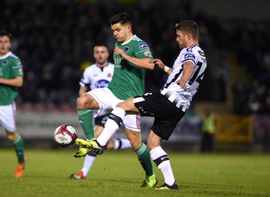 Daire O'Connor, with Dundalk's Dane Massey during the President's Cup.