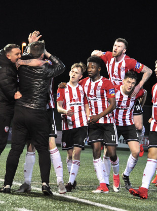 David Parkhouse celebrates his first goal for Derry City on Friday.
