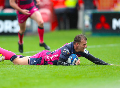 Braley scoring a try for Gloucester in the Champions Cup earlier this season.