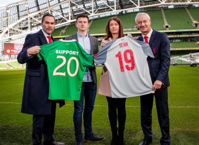 Jack and Martina Cox with former Ireland international Jason McAteer and former Liverpool striker Ian Rush.