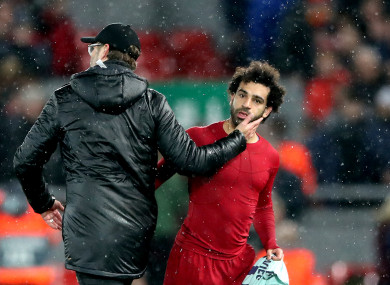 Liverpool manager Jurgen Klopp (left) with Mohamed Salah after the final whistle.