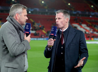 Television pundits Dietmar Hamann (left) and Jamie Carragher (right) pictured prior to last night's match.
