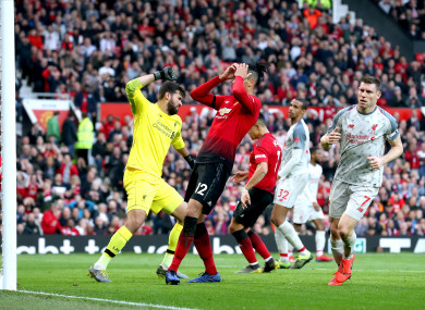 Chris Smalling rues a missed chance late on in the game.