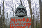 Karl Marx Memorial in Highgate Cemetery, London.