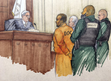 A courtroom sketch of R Kelly appearing in court.