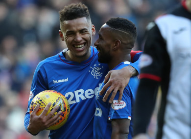 Jermaine Defoe and James Tavernier discuss who will take the latest penalty in the league win against St Mirren.