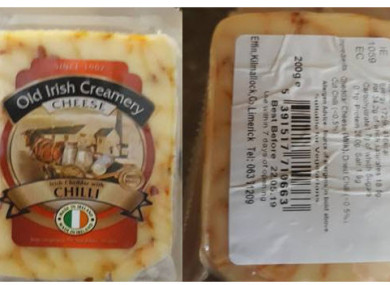 The recalled cheese packaging.