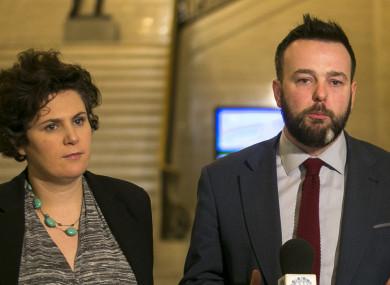 SDLP leader Colum Eastwood (centre) with Claire Hanna (left).