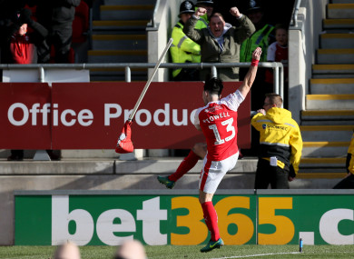 Rotherham United's Richie Towell kicks the corner flag after scoring.