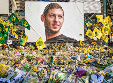 FC Nantes supporters pay homage to Emiliano Sala at La Beaujoire stadium at the weekend.