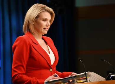 Sources claim Heather Nauert withdrew from the race over reports that she hired a nanny who was not authorised to work in the US (file photo)