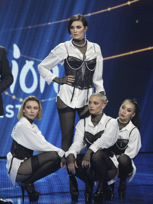 Anna Korsun (centre), who performs under the name of Maruv, was dropped by the Ukranian broadcaster on Monday night