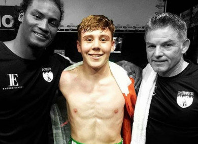 James Power is flanked by fellow pro Israel Duffus (L) and trainer Declan Geraghty Sr (R) after his second pro fight in Tijuana, Mexico.