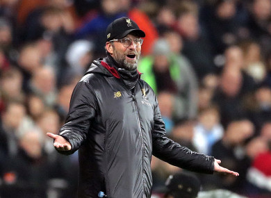 Jurgen Klopp gesticulates in disbelief at West Ham last night.