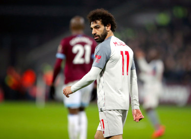 Liverpool's Mo Salah in action against West Ham on Monday.