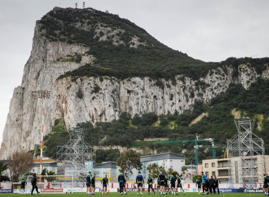 The Victoria Stadium, set against the Rock of Gibraltar.