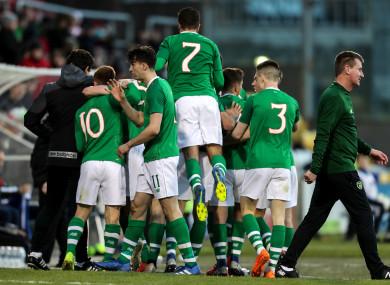 Adam Idah celebrates with his Ireland team-mates at Tallaght Stadium.