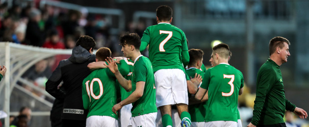 Adam Idah celebrates with his Ireland team-mates at Tallaght Stadium.