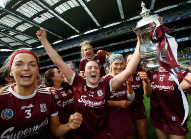 Alish O'Reilly celebrates after Galway's victory over Kilkenny.