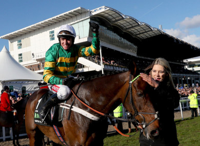 Barry Geraghty celebrates after Buveur D'Air triumphed last year.