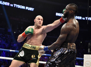 Deontay Wilder and Tyson Fury during their WBC Heavyweight Championship bout.