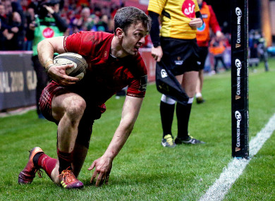 Munster's Darren Sweetnam after touching down for a try.