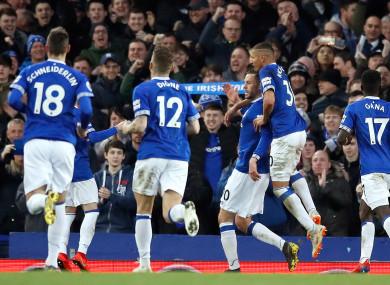 Sigurdsson celebrates doubling Everton's lead.