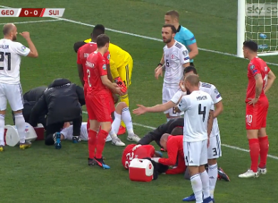 Schar receiving treatment after the collision.