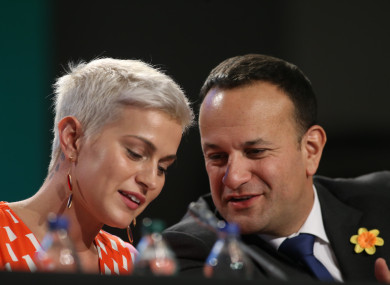 Fine Gael's European Parliament election candidate for Midlands/ North-West Maria Walsh and Taoiseach Leo Varadkar