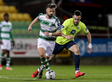 Greg Bolger and Nathan Boyle in action at Tallaght Stadium on Monday.