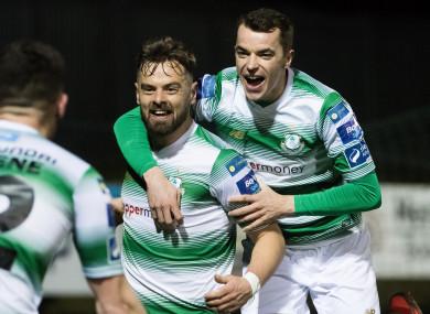 Bolger celebrates his late goal in Ballybofey on Friday night.