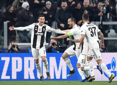 Cristiano Ronaldo of Juventus celebrates with team-mates.