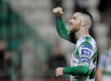 Jack Byrne celebrates after Shamrock Rovers' win against Sligo on Friday night.