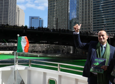 Leo Varadkar gives a thumbs up on the Chicago river as he ends his week in the US.