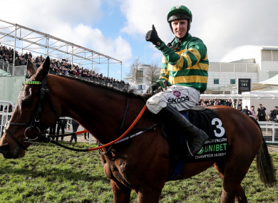 Mark Walsh on Espoir D'Allen celebrates winning the Champions Hurdle last week.