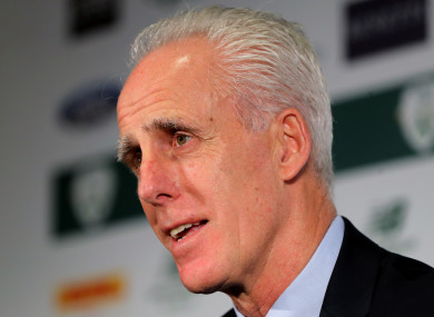 Mick McCarthy at today's announcement.