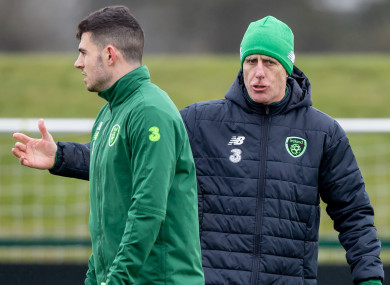 Mick McCarthy back on the training ground with Ireland.