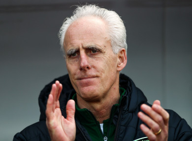Ireland manager Mick McCarthy at the Victoria Stadium.