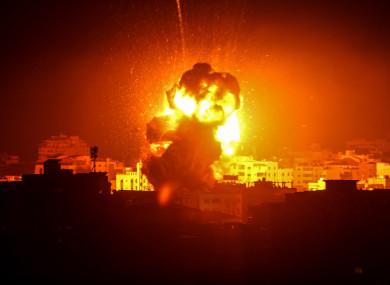 Flame and smoke following an Israeli air strike in Gaza