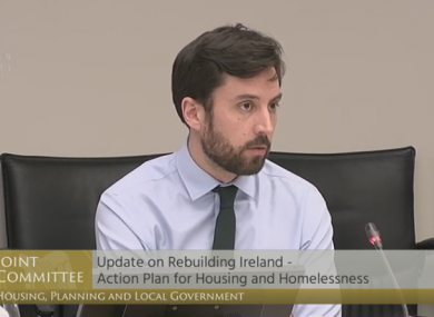 Minister for Housing Eoghan Murphy addressing the Oireachtas Committee today