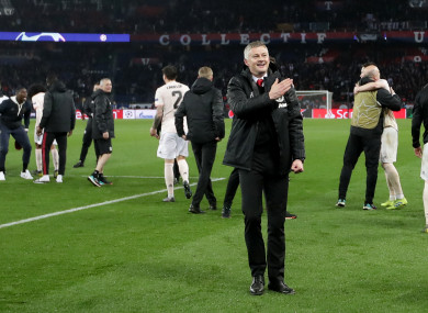 Ole Gunnar Solskjaer celebrates after Manchester United's comeback win in Paris.