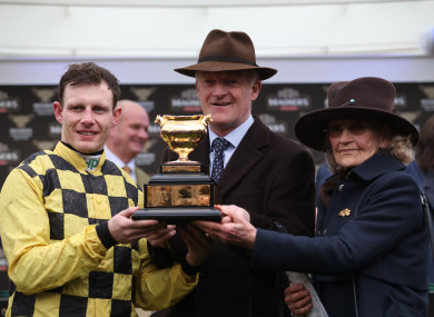 Paul Townend, Willie Mullins and his mother Maureen celebrate winning the Magners Cheltenham Gold Cup.