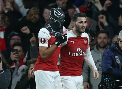 Pierre-Emerick Aubameyang wears a Black Panther mask after scoring for Arsenal.