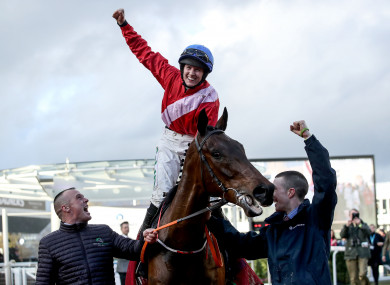 Rachael Blackmore onboard A Plus Tard celebrates winning the Novices' Handicap Chase.
