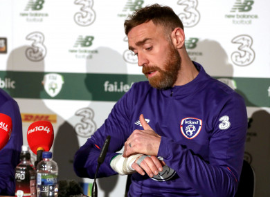 Richard Keogh discusses his broken hand at Irish camp today.