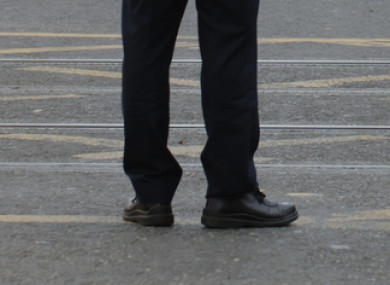 File photo. A garda's shoes.